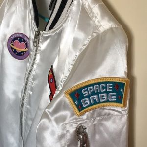 Forever 21 Jackets & Coats - Space Bomber Jacket // White Satin